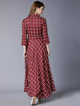 Load image into Gallery viewer, Queen ellie Burgundy Checked Flared Belted Shirt Maxi Dress
