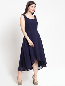 Queen ellie Women Navy Blue Solid High-Low Fit and Flare Dress