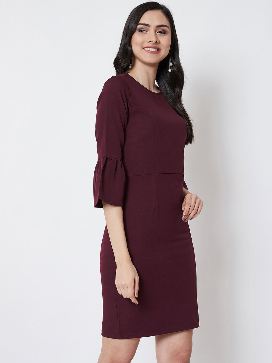 Queen ellie Women Burgundy Solid Sheath Dress
