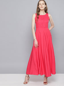 Queen ellie Women Coral Pink Solid Maxi Dress