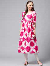 Load image into Gallery viewer, Queen Ellie Women White & Pink Printed Anarkali Kurta