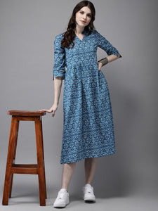 Queen ellie Women Blue & White Printed A-Line Kurta
