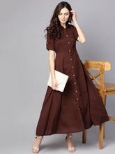 Load image into Gallery viewer, Queen ellie Women Coffee Brown Solid Shirt Maxi Dress