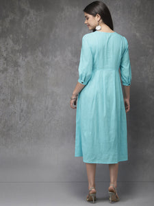 Queen ellie Women Turquoise Blue Solid A-Line Fusion Kurta