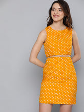 Load image into Gallery viewer, Queen ellie Mustard Yellow & Off-White Polka Dot Print Sheath Dress