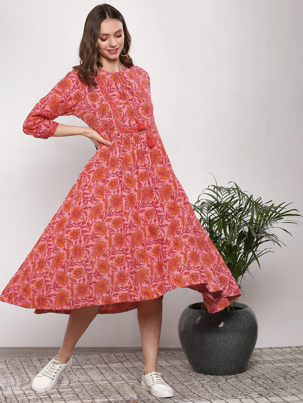 Queen ellie Women Pink & Red Printed A-Line Dress