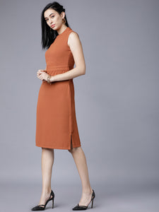 Queen ellie Women Brown Solid Sheath Dress