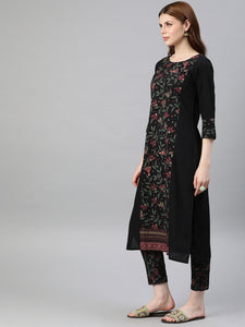 Queen Ellie Women Black & Green Printed Kurta with Trouser