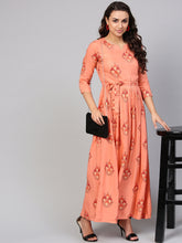 Load image into Gallery viewer, Queen ellie Women Peach-Coloured & Red Printed Maxi Dress