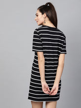 Load image into Gallery viewer, Queen ellie Women Black & White Striped T-shirt Dress
