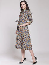 Load image into Gallery viewer, Queen ellie Women Multicoloured Checked Shirt Dress
