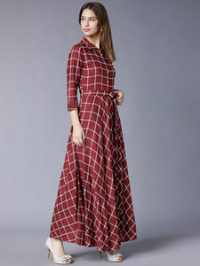 Queen ellie Burgundy Checked Flared Belted Shirt Maxi Dress