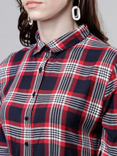 Load image into Gallery viewer, Queen ellie Women Navy Blue Checked Shirt Dress