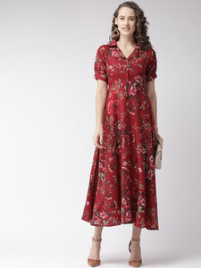 Queen ellie Maroon & Olive Green Floral Print Maxi Shirt Dress