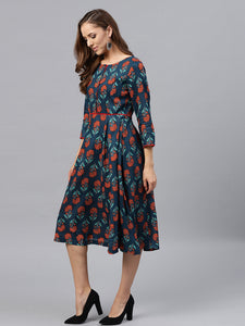 Queen ellie Women Teal Blue Printed Fit & Flare Dress