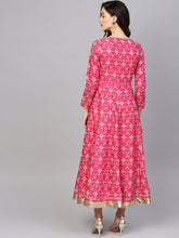 Load image into Gallery viewer, Queen ellie Women Pink & Mint Green Floral Printed Ethnic Maxi Dress