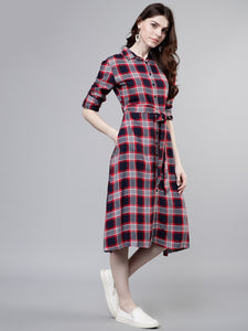 Queen ellie Women Navy Blue Checked Shirt Dress