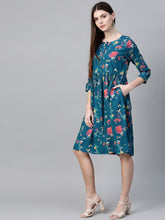 Load image into Gallery viewer, Queen ellie Women Teal Blue & Coral Pink Floral Print A-Line Dress
