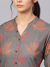 Load image into Gallery viewer, Queen ellie Women Charcoal Grey & Red Printed Straight Kurti