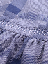 Load image into Gallery viewer, Queen ellie Women Blue & White Hand Block Print Legacy A-Line Dress with Gathers