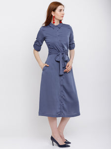 Queen ellie Women Blue Solid Shirt Dress