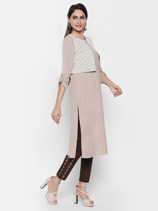 Queen ellie Women Beige & Grey A-Line Kurti