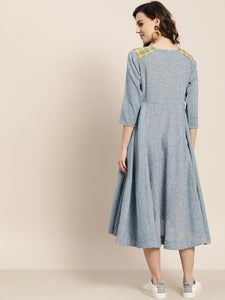 Queen ellie Women Blue Self Design Yarn Dyed Flared A-Line Dress
