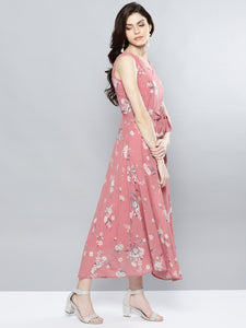 Queen ellie Women Pink & Grey Printed Maxi Dress