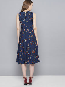 Queen ellie Women Navy Blue Printed Fit and Flare Dress