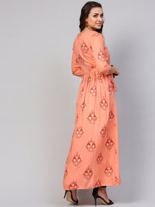 Queen ellie Women Peach-Coloured & Red Printed Maxi Dress