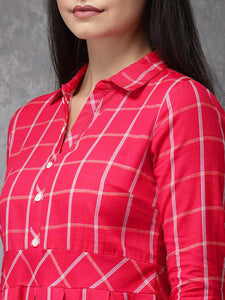 Queen ellie Women Pink & White Checked Fusion A-Line Kurta
