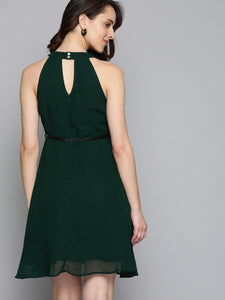 Queen ellie Women Green Solid Fit and Flare Dress