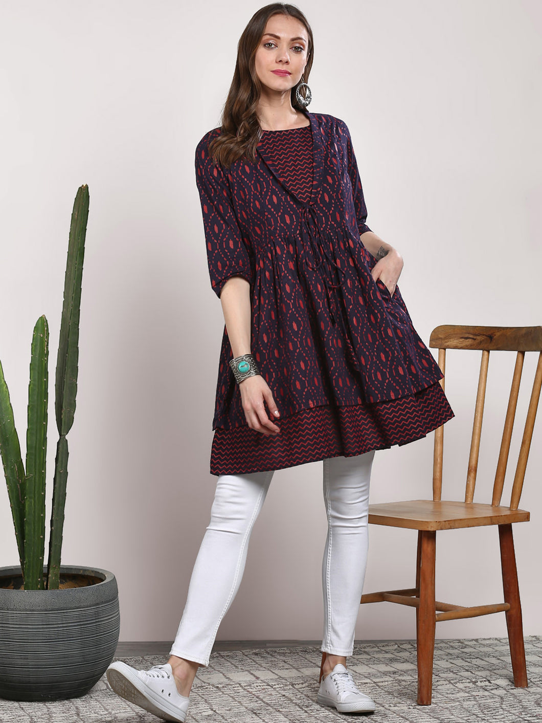 Queen ellie Navy Blue Printed Tunic