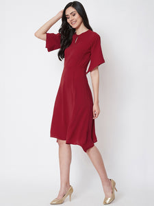 Queen ellie Women Maroon Solid Fit and Flare Dress