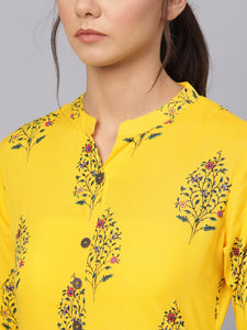 Queen ellie Women Yellow Floral Print Straight Kurti