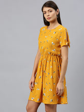 Load image into Gallery viewer, Queen ellie Women Mustard Yellow & White Floral Print Fit & Flare Dress With Tie-Up Sleeves