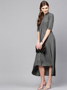 Queen ellie Women Grey Self Design Midi A-Line Dress