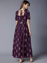 Load image into Gallery viewer, Queen ellie Women Purple Printed Maxi Dress
