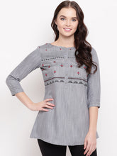 Load image into Gallery viewer, Queen ellie Women Grey & Black Embroidered A-Line Kurti