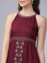 Load image into Gallery viewer, Queen ellie Women Maroon Embroidered A-Line Dress