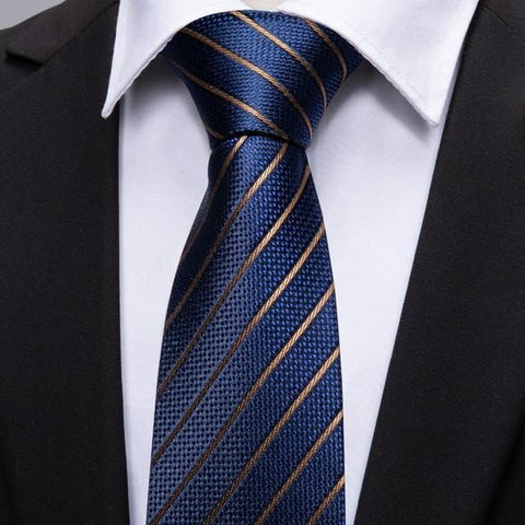 Striped Navy Blue Gold Tie
