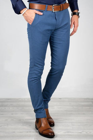 Blue Italian Cut Fabric Pants