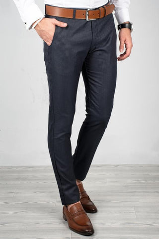 Navy Blue Slim Fit Pants