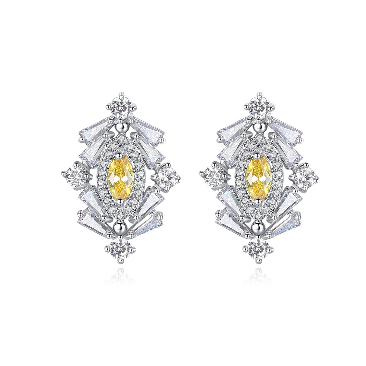 ArtDeco Rodium Plated Earrings