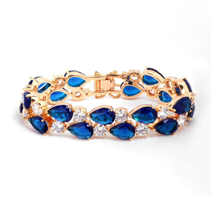 Gold Plated Tear Drop Simulated Sapphire Bracelet