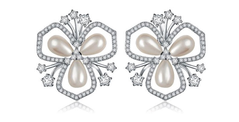 Lotus Leaf Rodium Plated Earrings
