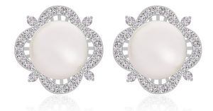 Victorian Pearl Rodium Plated Earrings
