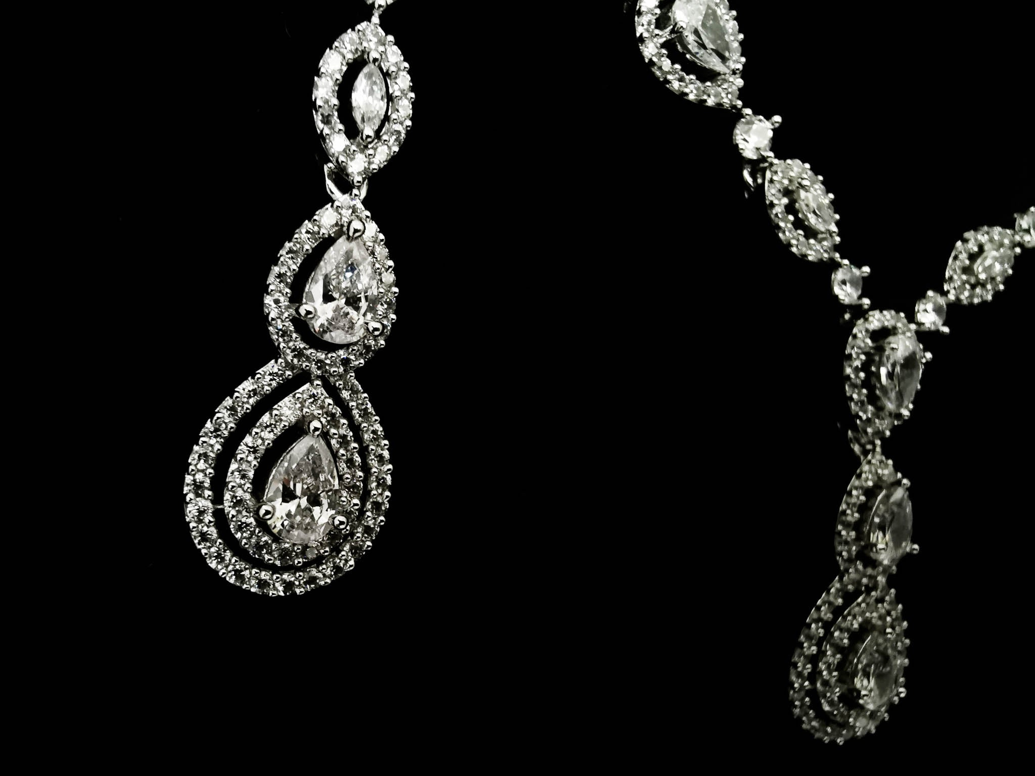 Opulence Pear Drop Cubic Zirconia Necklace Set