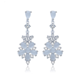 Ice Blue Floral Inspired Drop Earrings