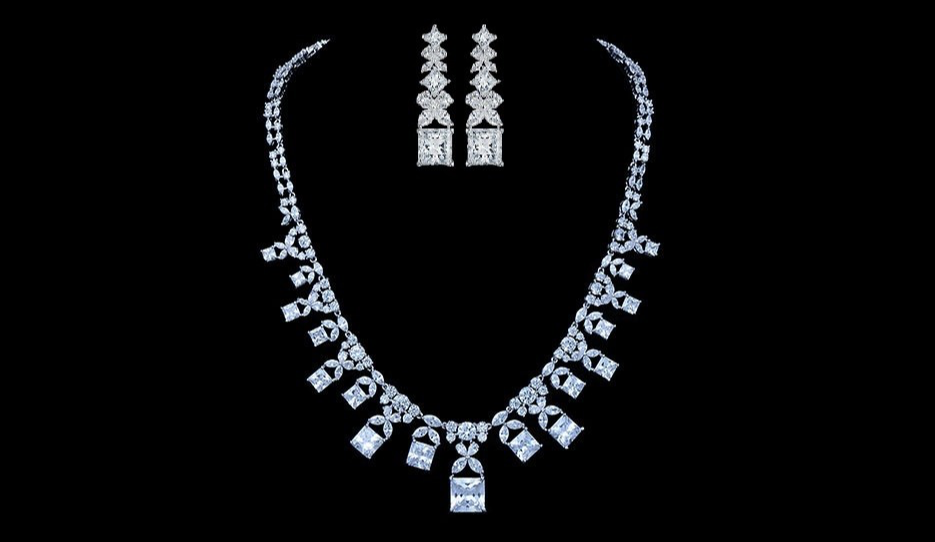 Crown Jewel Rodium Plated Set